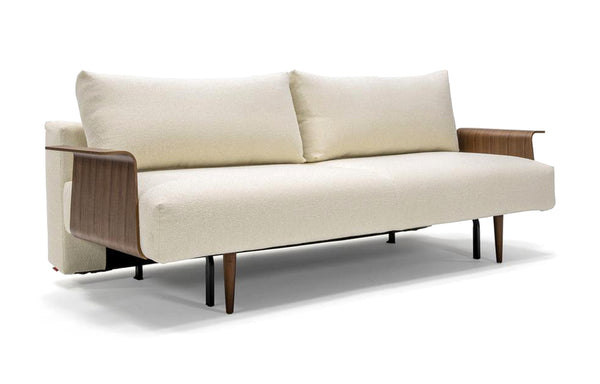 Frode Dark Styletto Sofa Bed Walnut Arms by Innovation - 531 Boucle Off White (stocked).