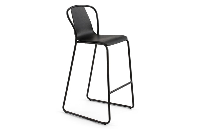 Fullerton Bar Stool by m.a.d. - Black Metal Base with Black Ash Wood Seat.