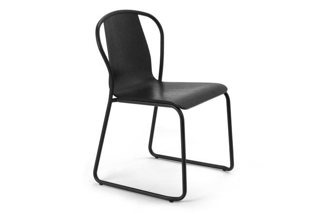 Fullerton Chair by m.a.d. - Black Metal Base with Black Ash Wood Seat.