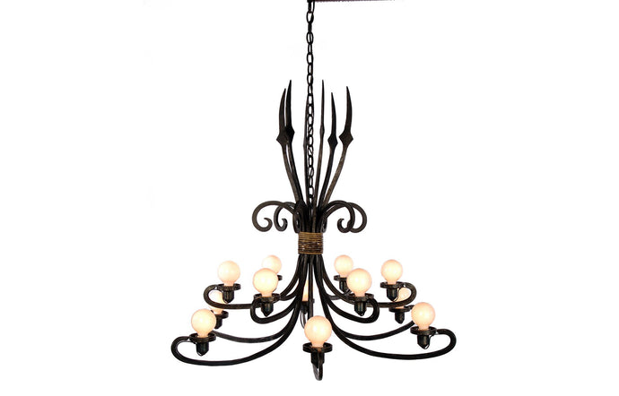 James De Wulf Grand Triton Chandelier by De Wulf - Steel and Brass.