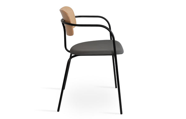 Academy Soft Seat Arm Dining Chair by SohoConcept - Grey PPM Seat+Oak Veneer Back+Matt Black Frame