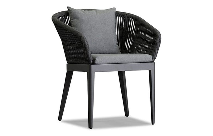 Hamilton Dining Chair by Harbour - Asteroid Aluminum/Dark Grey Rope/Sunbrella Cast Slate.