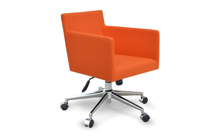 Harput Office Arm Chair by SohoConcept - Chrome Plated Steel, Camira Blazer Orange Wool