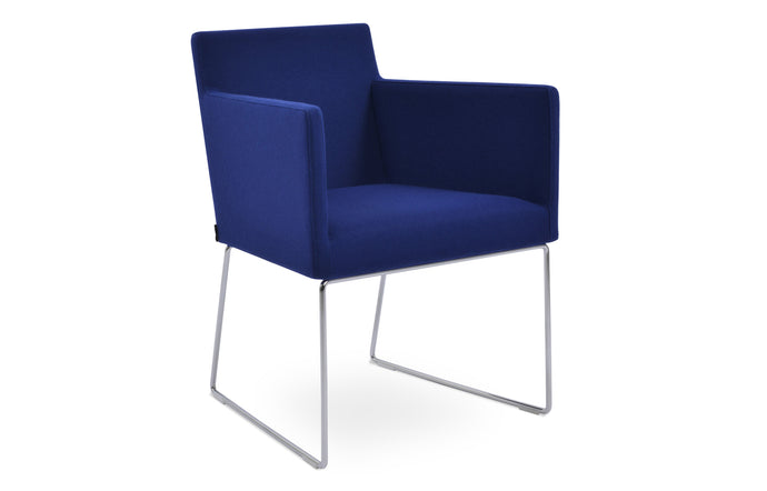 Harput Sled Wire Arm Chair by SohoConcept - Chrome Finish, Camira Blazer Royal Blue Wool.
