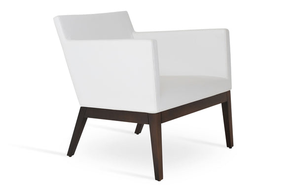 Harput Wood Small Lounge Chair by SohoConcept - White Leatherette