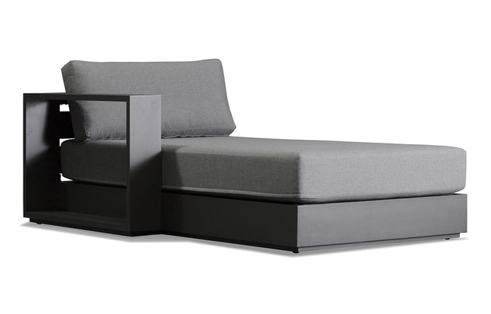 Hayman Chaise by Harbour - Right Arm Facing Chaise Left, Asteroid Aluminum + Batyline Silver/Sunbrella Cast Slate.