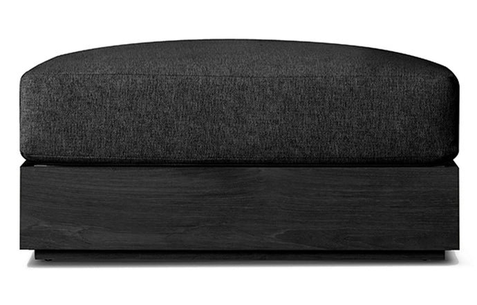 Hayman Teak Ottoman by Harbour - Burnt Charcoal Teak Wood + Batyline Black/Midnight Copacabana.