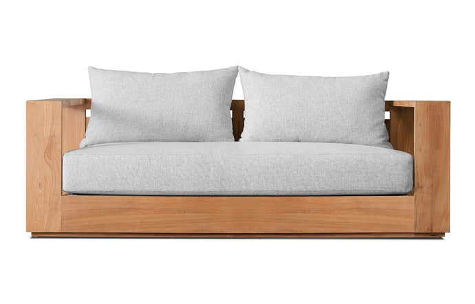 Hayman Teak Two Seater Arm Sofa by Harbour - Natural Teak Wood + Batyline White/Sand Copacabana.
