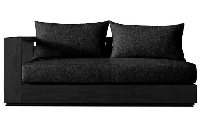 Hayman Teak Two Seater One Arm Sectional Sofa by Harbour - Right Arm Facing, Burnt Charcoal Teak Wood + Batyline Black/Midnight Copacabana.