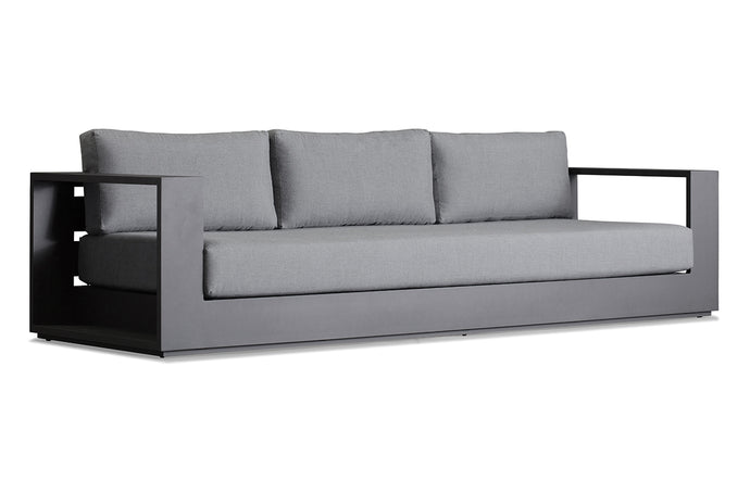 Hayman Three Seater Sofa by Harbour - Asteroid Aluminum + Batyline Silver/Sunbrella Cast Slate.