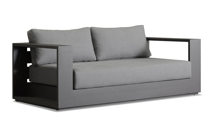 Hayman Two Seater Arm Sofa by Harbour - Asteroid Aluminum + Batyline Silver/Sunbrella Cast Slate.