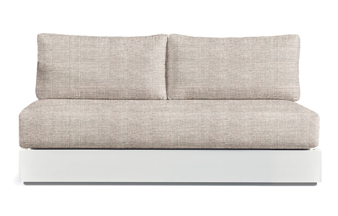 Hayman Two Seater Armless Sofa by Harbour - White Aluminum + Batyline White/Sunbrella Cast Silver.