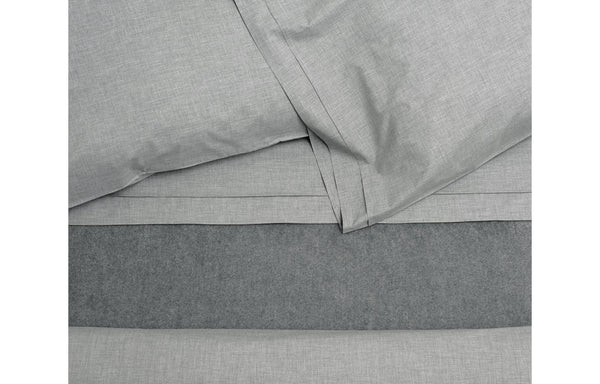 Heather Grey Melange Cotton Duvet Cover by Area