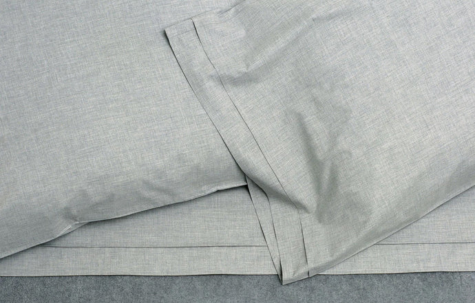 Heather Grey Melange Cotton Fitted Sheet by Area.