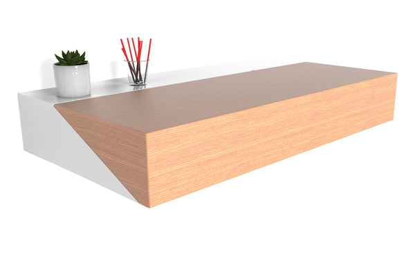 Hideaway Wall Desk by Orange22 Modern - Rift Oak Wood/White Painted Steel.