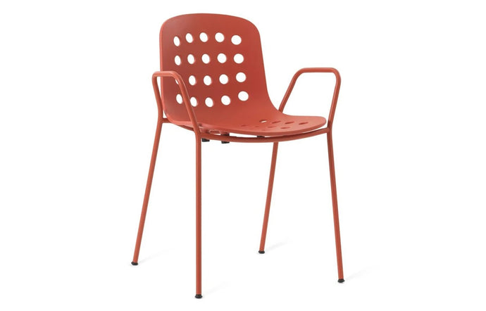 Holi Arm Chair by Toou - Open Shell, Red Seat.