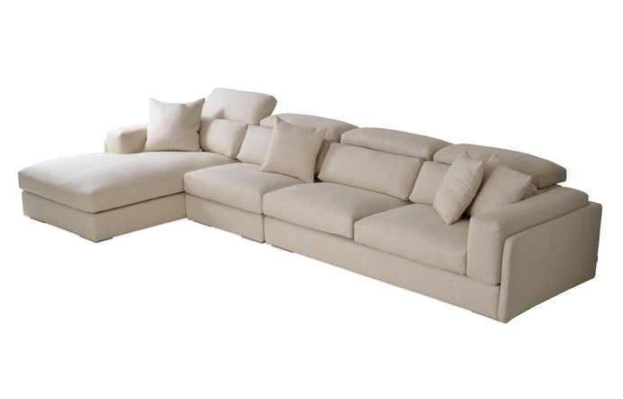 Hollywood Large Sectional Sofa by SohoConcept - Left Hand Face, Cream Tweed Fabric