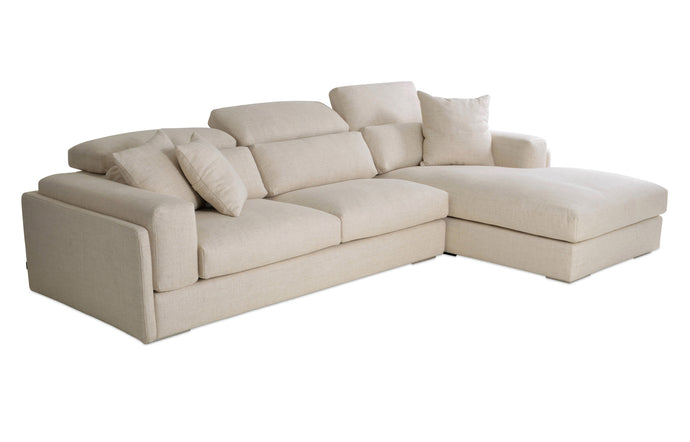 Hollywood Medium Sectional Sofa by SohoConcept - Right Hand Face, Cream Tweed Fabric