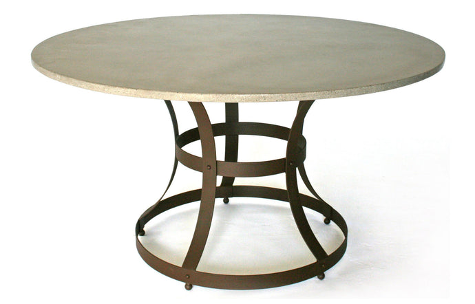 James De Wulf Hourglass Cage Dining Table by De Wulf - Natural Tone Concrete/Powder Coated Steel.