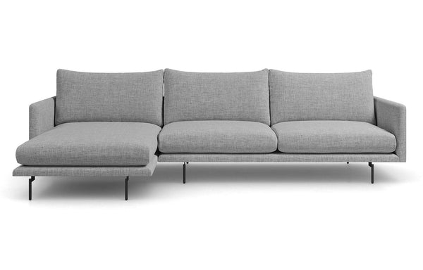 Houston Chaise Sectional Sofa by Modloft - Left Facing, Stargazer Gray Fabric.