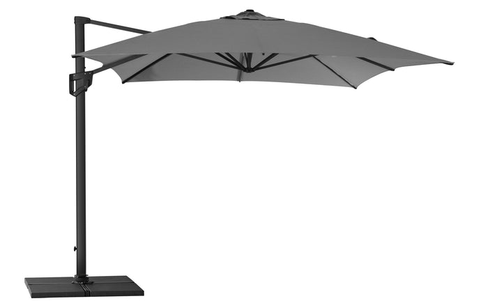 Hyde Luxe Hanging Parasol with Base by Cane-Line - Antracite Olefin Fabric.