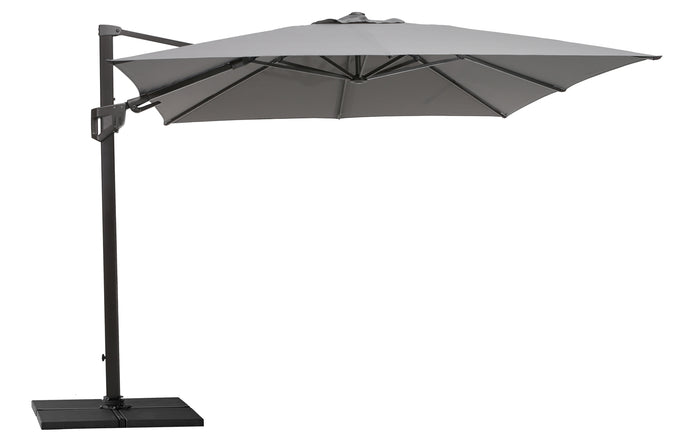 Hyde Luxe Tilit Parasol with Base by Cane-Line - Antracite Olefin Fabric.