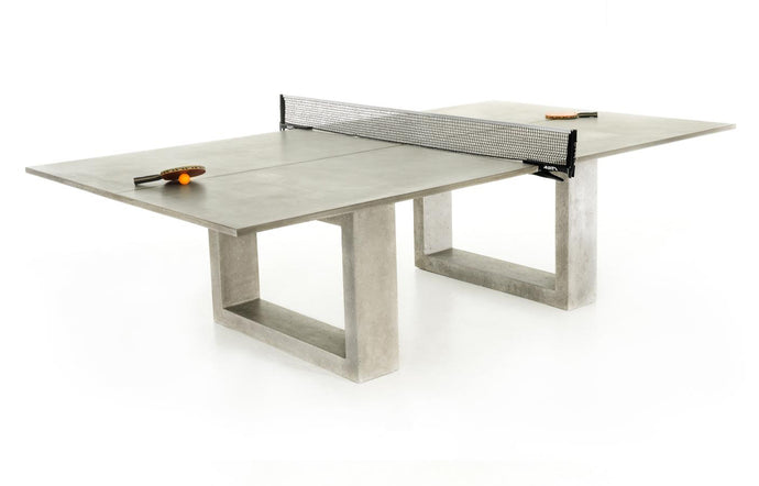 James De Wulf Inwards Fibonacci Ping Pong Dining Table by De Wulf - Natural Tone Concrete.