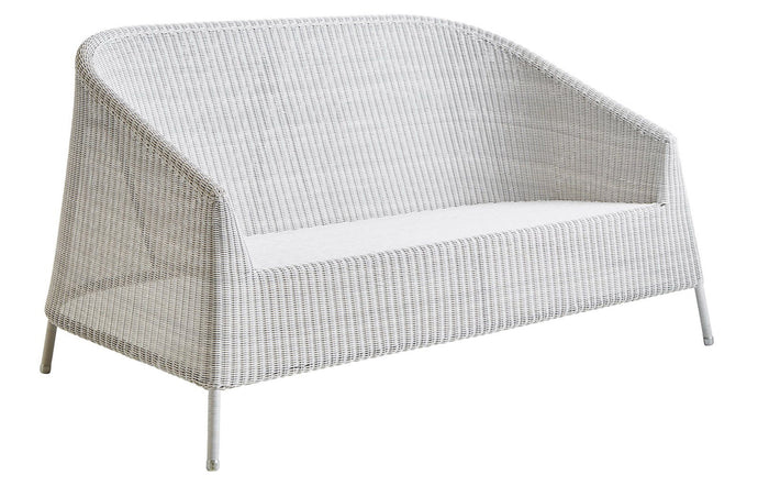 Kingston 2 Seater Stackable Lounge Sofa by Cane-Line - White Grey Fiber Weave, No Cushion.
