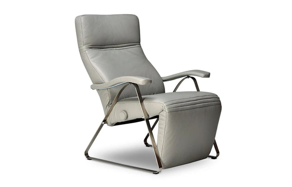 Kitty Recliner by Lafer - Light Grey Leather - FC124