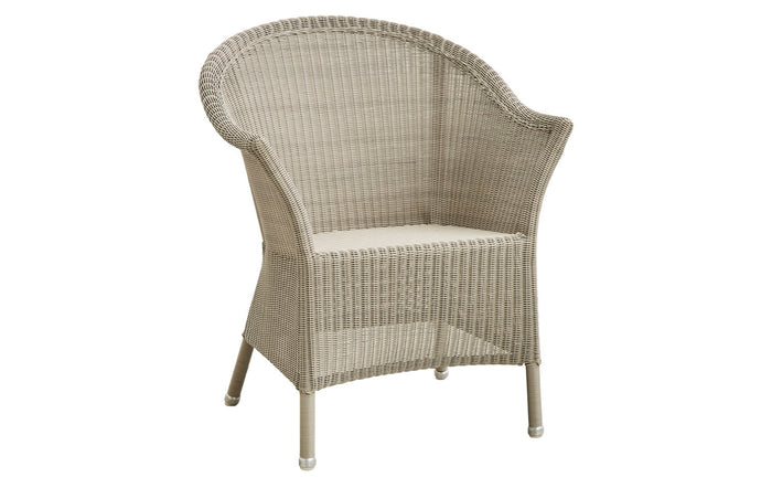 Lansing Dining Armchair by Cane-Line - Taupe Fiber Weave, No Seat/Back Cushion Set,