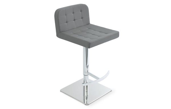 Lara Piston Stool by SohoConcpet - Square T-Footrest Piston Polished Stainless Steel