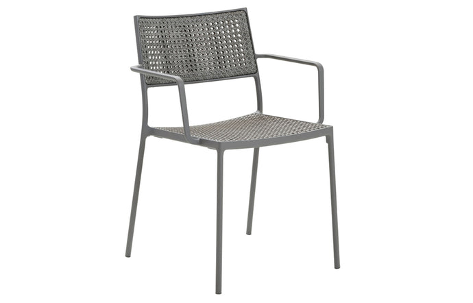 Less Stackable Dining Armchair by Cane-Line - Light Grey French Weave/Light Grey Powder Coated Aluminum.