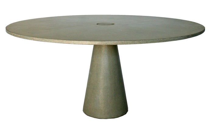 James De Wulf Locking Round Dining Table by De Wulf - Natural Tone Concrete.
