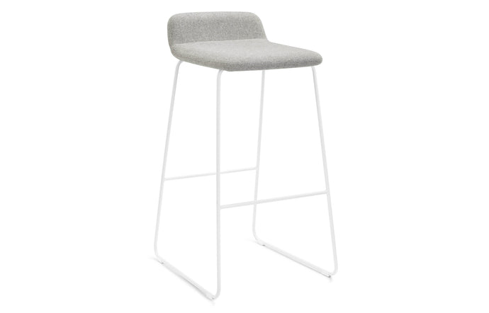 Lolli Bar Stool by m.a.d. - White Metal Base with Pewter Grey Fabric Seat.
