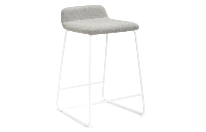 Lolli Counter Stool by m.a.d. - White Metal Base with Pewter Grey Fabric Seat.