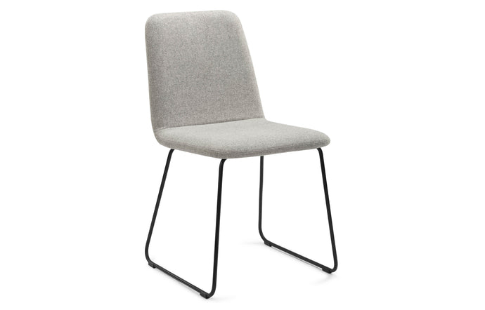 Lolli II Dining Chair by m.a.d. - Black Metal Base with Pewter Grey Fabric Seat.