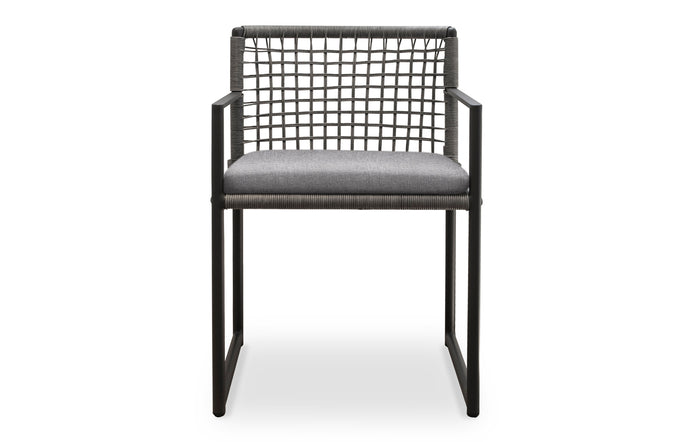 Loop Dining Chair by Harbour - Asteroid Aluminum + Grey Wicker Weave/Sunbrella Cast Slate.