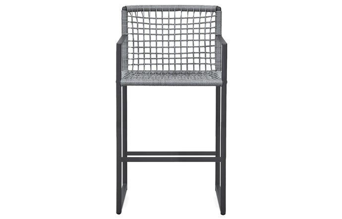 Loop Outdoor Stool by Harbour - Asteroid Aluminum + Grey Wicker Weave/Sunbrella Cast Slate.