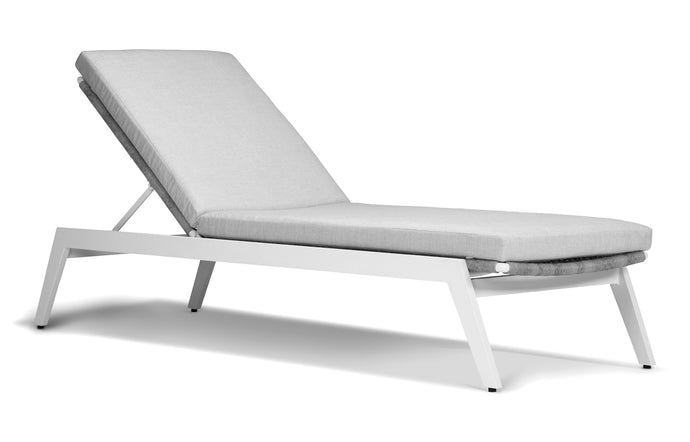 Loop Sunlounger by Harbour - White Aluminum + Grey Wicker Weave/Sunbrella Cast Silver.