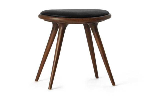 Low Stool by Mater - Dark Stained Beech Wood With Black Leather Seat.