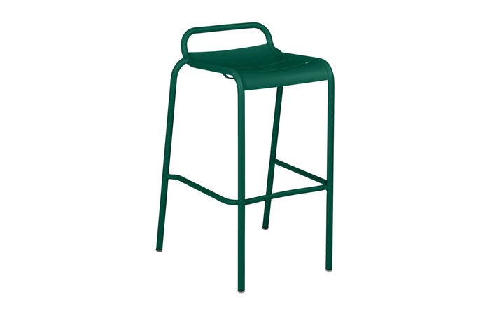 Luxembourg High Stool with Low Back by Fermob - Cedar Green (matte textured)