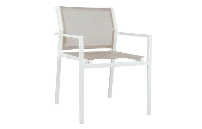 Allux Stackable Armchair by Mamagreen - White Sand Aluminum, Light Taupe Standard Batyline.