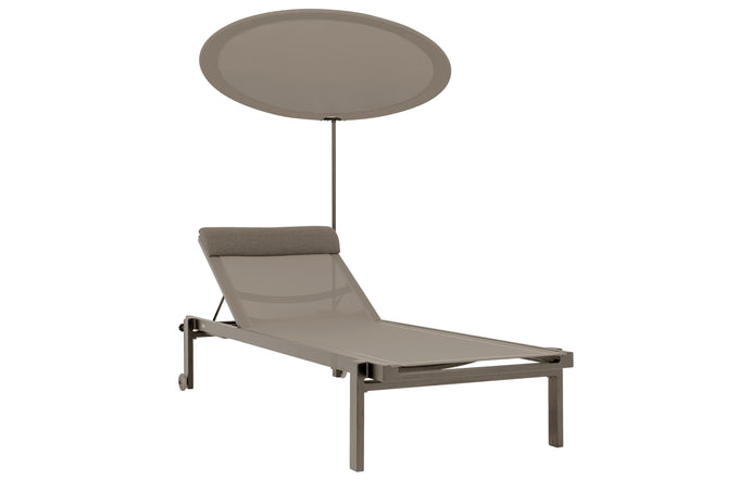 Allux Stackable Lounger with Shade by Mamagreen - Taupe Sand Aluminum, Light Taupe Standard Batyline.