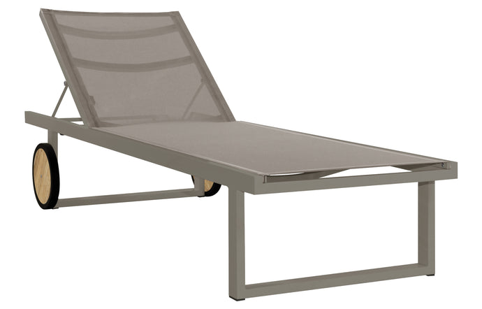 Allux Wooden Wheels Lounger by Mamagreen - Taupe Sand Aluminum, Light Taupe Standard Batyline.