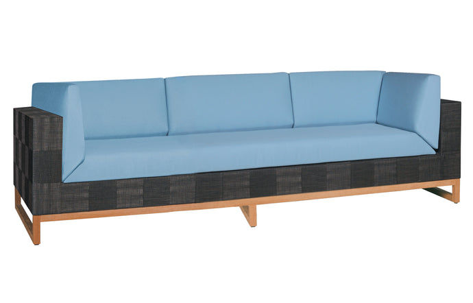 Ekka 3-Seater Sofa by Mamagreen - Black Upholstery Batyline, Mineral Blue Sunbrella Cushion.