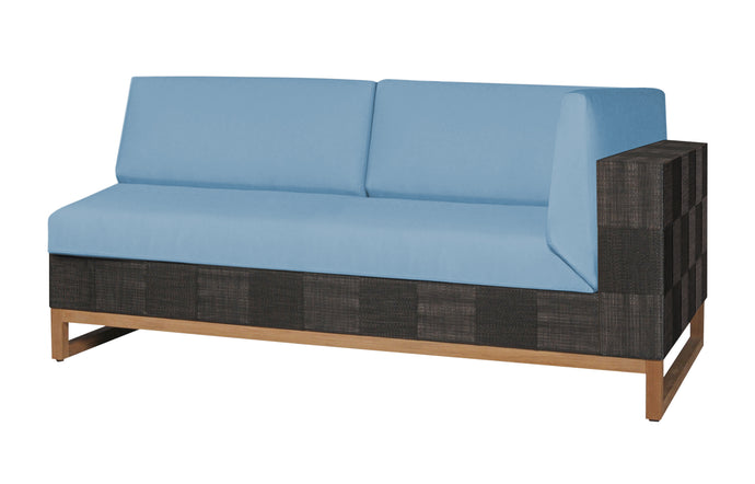 Ekka Left Hand Sectional by Mamagreen - Black Upholstery Batyline, Mineral Blue Sunbrella Cushion.