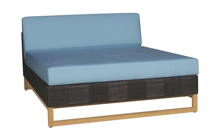 Ekka Sectional Chaise by Mamagreen - Black Upholstery Batyline, Mineral Blue Sunbrella Cushion.