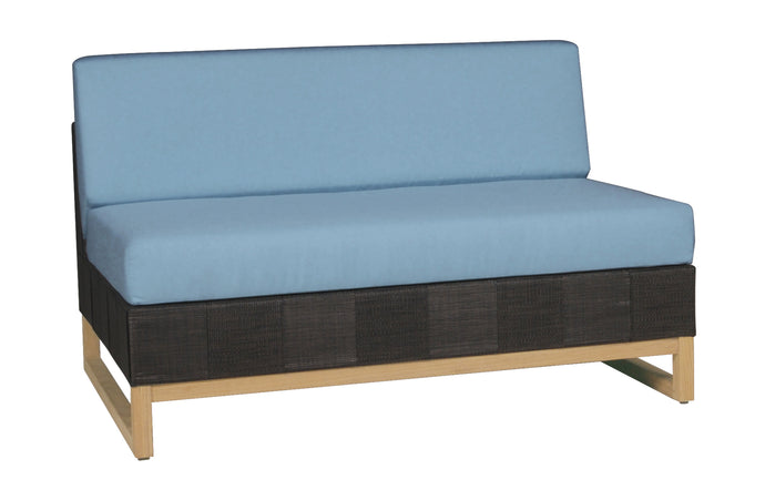 Ekka Sectional Seat by Mamagreen - Black Upholstery Batyline, Mineral Blue Sunbrella Cushion.