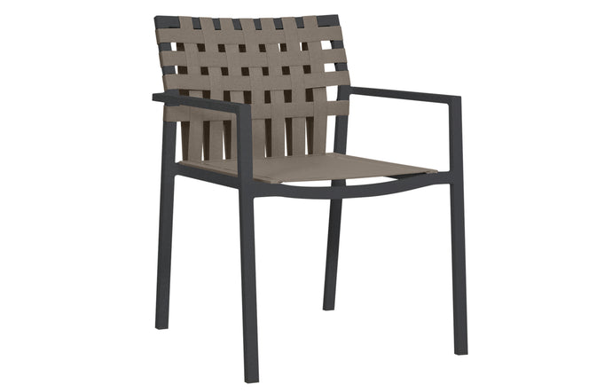 Ekka Carver Dinning Side Chair by Mamagreen - Black Powder Coated Aluminum, Cocoa Keops Webbing, Dark Taupe Standard Batyline.