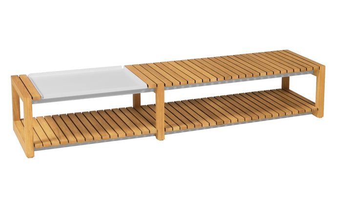 Ekka Teak Long Table by Mamagreen - White Sand Aluminum.